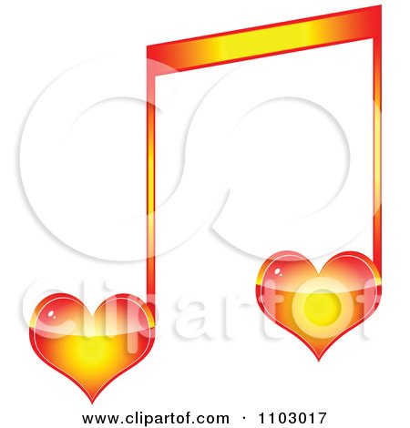 Clipart Two Heart Love Music Notes - Royalty Free Vector Illustration by Andrei Marincas