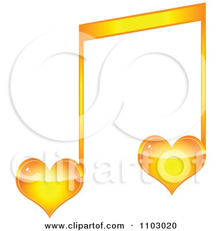 Clipart Two Orange Heart Love Music Notes - Royalty Free Vector Illustration by Andrei Marincas