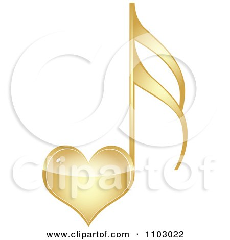 Clipart Shiny Gold Heart Love Music Note - Royalty Free Vector Illustration by Andrei Marincas