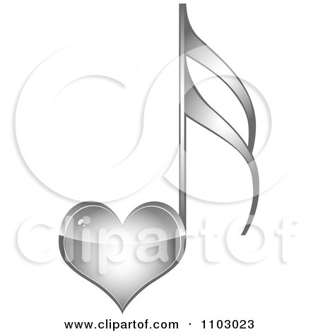 Clipart Shiny Silver Heart Love Music Note - Royalty Free Vector Illustration by Andrei Marincas