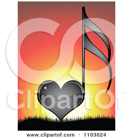Clipart Shiny Black Heart Love Music Note Against A Sunset - Royalty Free Vector Illustration by Andrei Marincas