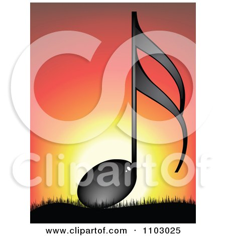 Clipart Shiny Black Music Note Against A Sunset - Royalty Free Vector Illustration by Andrei Marincas