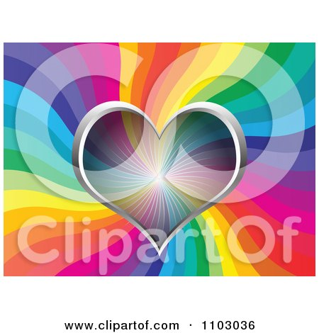 Clipart Valentines Day Background Of A Transparent Heart Over Rainbow Waves - Royalty Free Vector Illustration by Andrei Marincas