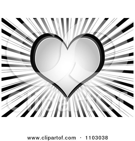 Clipart Gray Love Or Poker Heart On Rays - Royalty Free Vector Illustration by Andrei Marincas