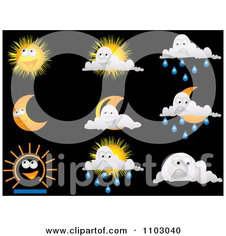Clipart Happy Weather Icons On Black - Royalty Free Vector Illustration by Andrei Marincas