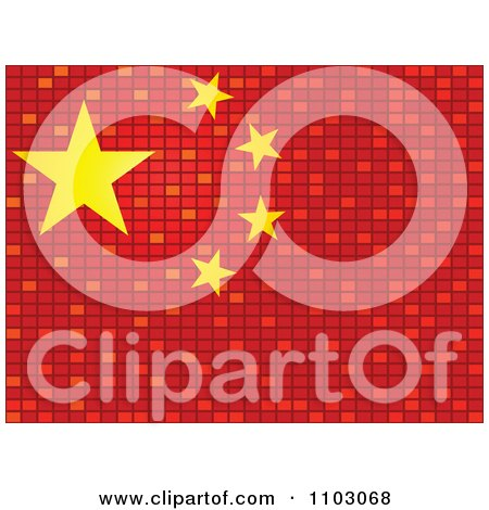 Clipart Mosaic Chinese Flag - Royalty Free Vector Illustration by Andrei Marincas