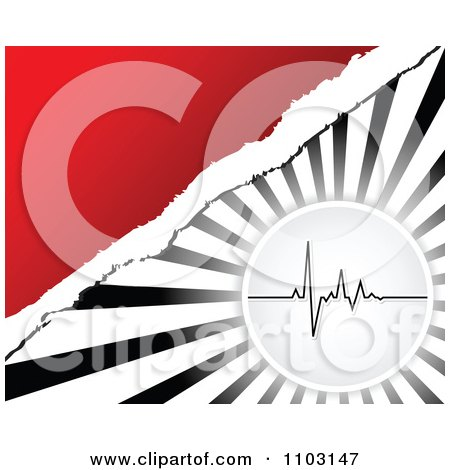 Clipart Pulse Heart Beat Cardiogram Over Rays And Red With Torn Paper - Royalty Free Vector Illustration by Andrei Marincas