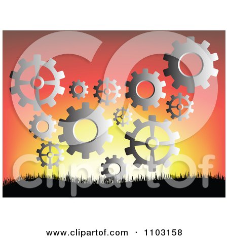 Clipart Silver Gear Cogs Floating Against A Sunset - Royalty Free Vector Illustration by Andrei Marincas