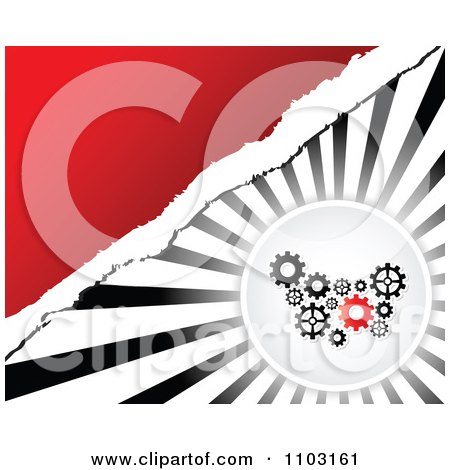 Clipart Gears Circle Over Rays With Torn Paper And Red Copyspace - Royalty Free Vector Illustration by Andrei Marincas