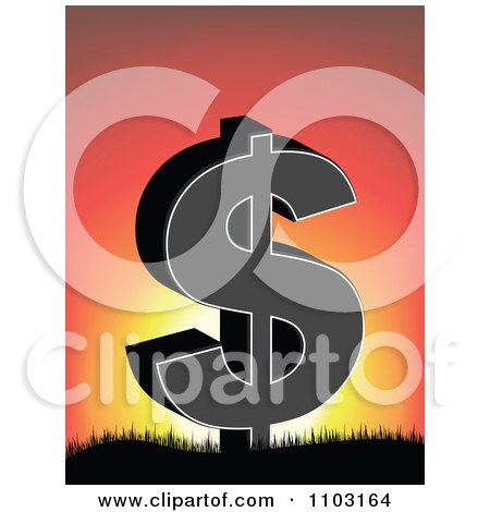 Clipart Dollar Symbol On Against A Sunset - Royalty Free Vector Illustration by Andrei Marincas