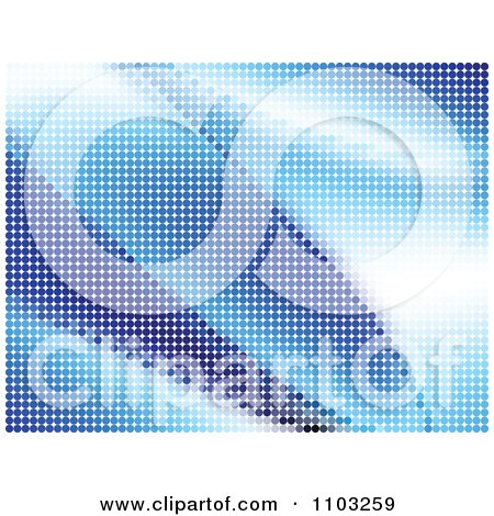 Clipart Background Of Blue Halftone Dot Waves - Royalty Free Vector Illustration by Andrei Marincas