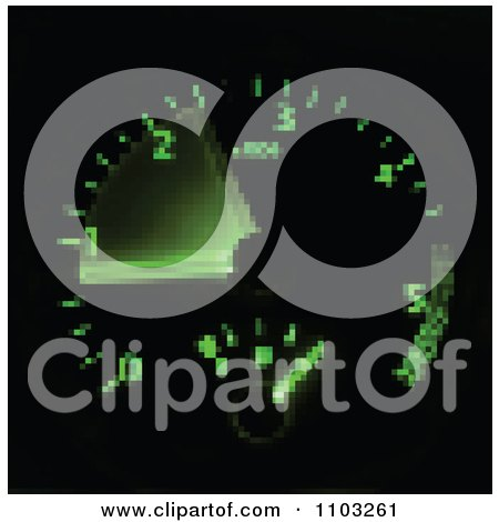 Blurred Pixelated Green Illuminated Car Speedometer On Black Posters, Art Prints