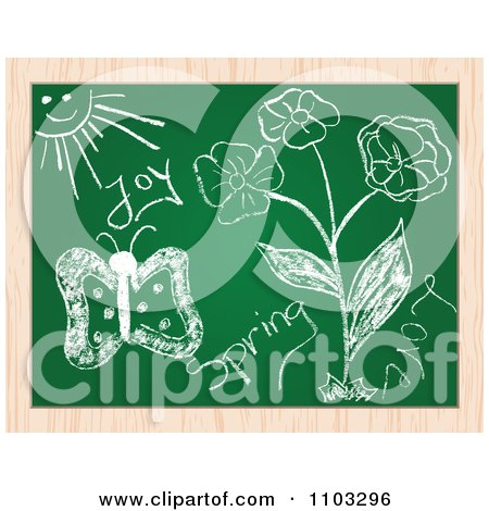 Clipart Spring Doodles On A Chalk Board - Royalty Free Vector Illustration by Andrei Marincas