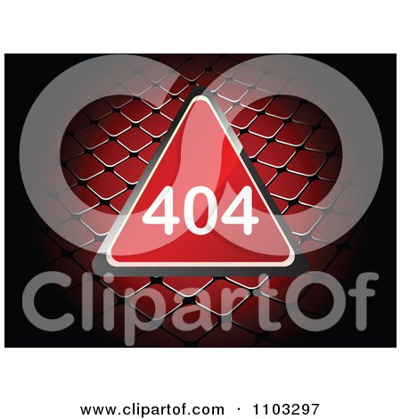 Clipart Reflective Red 404 Computer Error Triangle Over A Net - Royalty Free Vector Illustration by Andrei Marincas