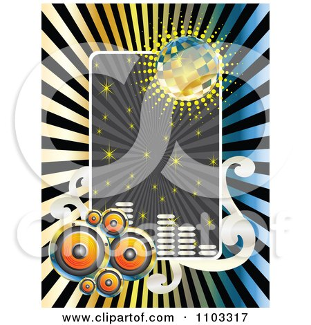 Clipart Music Speaker Disco Ball Sparkle And Equalizer Frame Over Rays - Royalty Free Vector Illustration by Andrei Marincas