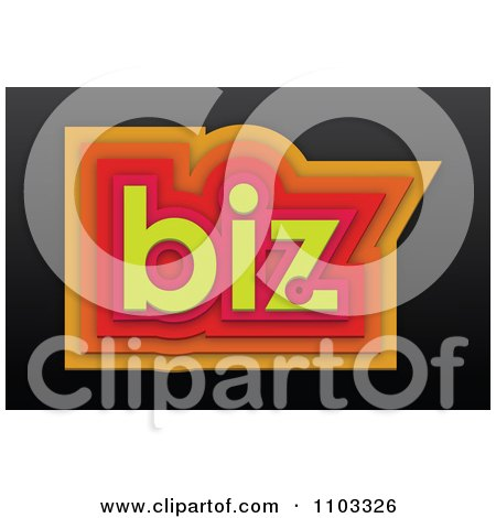 Clipart 3d Orange Red And Yellow Biz On Black - Royalty Free Vector Illustration by Andrei Marincas