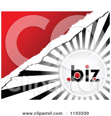 Clipart Dot Biz Circle Over Rays With Torn Paper And Red Copyspace - Royalty Free Vector Illustration by Andrei Marincas