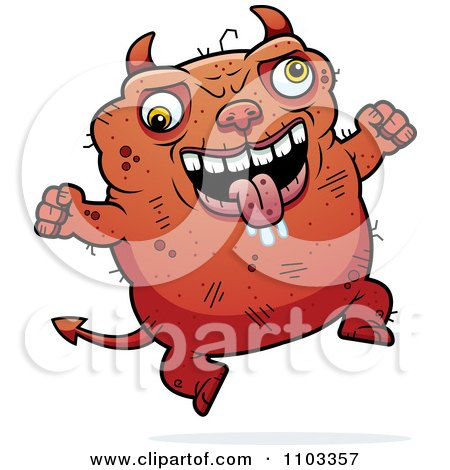 Clipart Jumping Ugly Devil - Royalty Free Vector Illustration by Cory Thoman