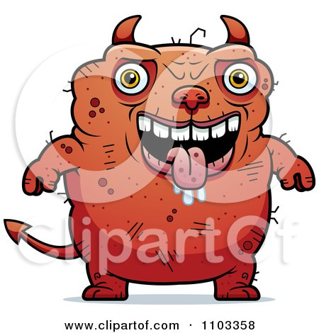 Clipart Drooling Ugly Devil - Royalty Free Vector Illustration by Cory Thoman