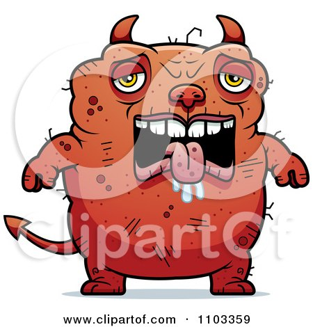 Clipart Sad Ugly Devil - Royalty Free Vector Illustration by Cory Thoman