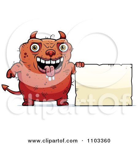 Clipart Ugly Devil With A Sign - Royalty Free Vector Illustration by Cory Thoman