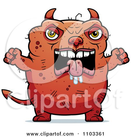 Clipart Angry Ugly Devil - Royalty Free Vector Illustration by Cory Thoman