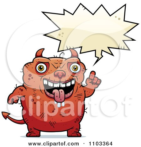 Clipart Talking Ugly Devil - Royalty Free Vector Illustration by Cory Thoman