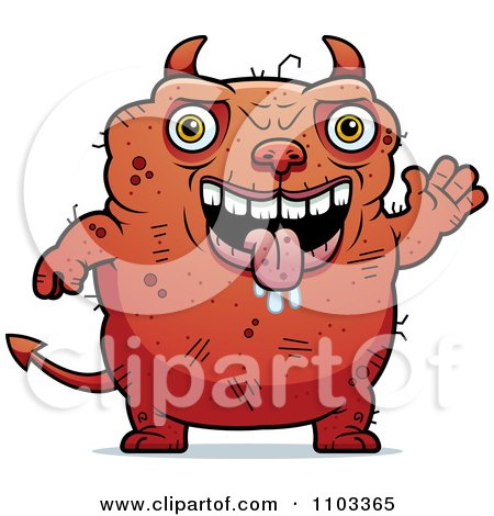 Clipart Waving Ugly Devil - Royalty Free Vector Illustration by Cory Thoman