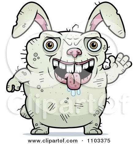 Clipart Waving Ugly Rabbit - Royalty Free Vector Illustration by Cory Thoman