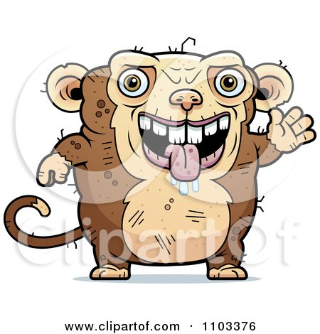 Clipart Waving Ugly Monkey - Royalty Free Vector Illustration by Cory Thoman