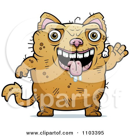 Clipart Waving Ugly Cat - Royalty Free Vector Illustration by Cory Thoman