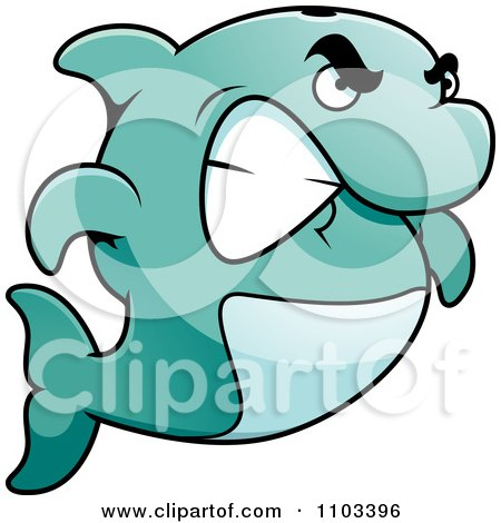 Clipart Angry Dolphin Gritting His Teeth - Royalty Free Vector Illustration by Cory Thoman