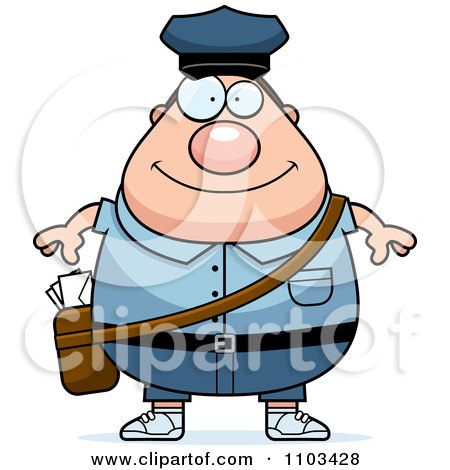 Clipart Happy Chubby Caucasian Mail Man Postal Worker - Royalty Free Vector Illustration by Cory Thoman