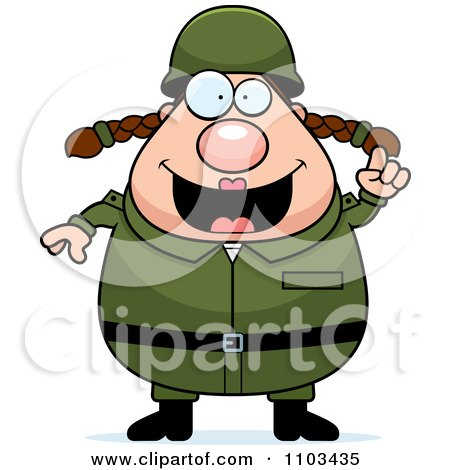 Clipart Chubby Caucasian Army Woman With An Idea - Royalty Free Vector Illustration by Cory Thoman