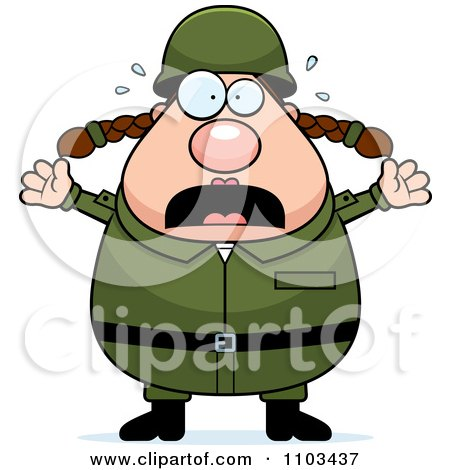 Clipart Stressed Chubby Caucasian Army Woman - Royalty Free Vector Illustration by Cory Thoman