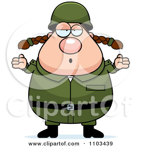 Clipart Careless Shrugging Chubby Caucasian Army Woman - Royalty Free Vector Illustration by Cory Thoman