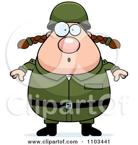 Clipart Surprised Chubby Caucasian Army Woman - Royalty Free Vector Illustration by Cory Thoman
