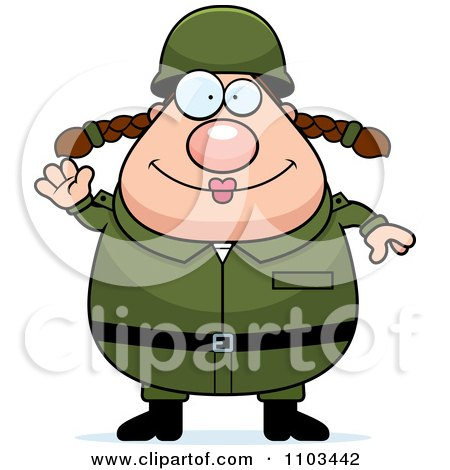 Clipart Friendly Waving Chubby Caucasian Army Woman - Royalty Free Vector Illustration by Cory Thoman
