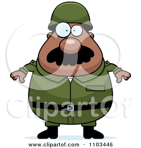 Clipart Chubby Black Army Man With A Mustache - Royalty Free Vector Illustration by Cory Thoman