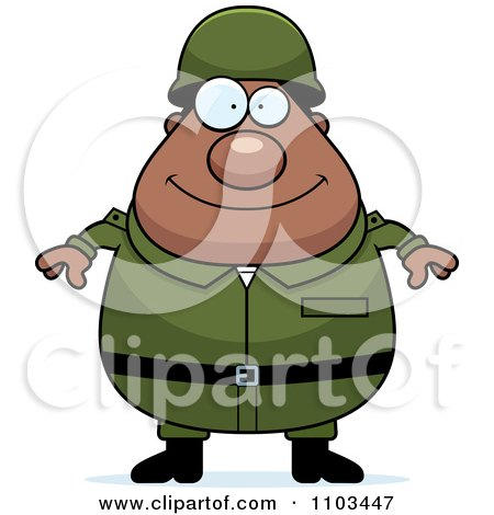 Clipart Happy Chubby Black Army Man - Royalty Free Vector Illustration by Cory Thoman