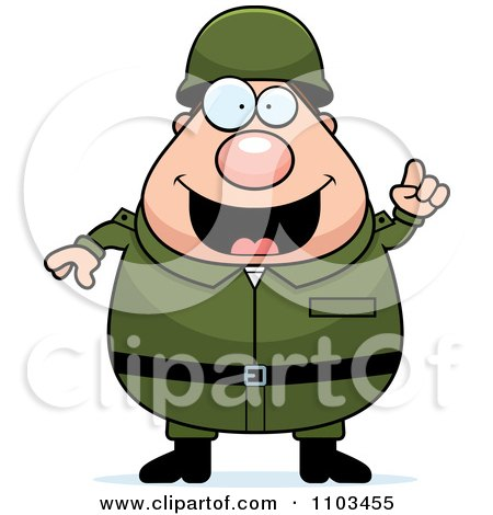 Clipart Chubby Caucasian Army Man With An Idea - Royalty Free Vector Illustration by Cory Thoman