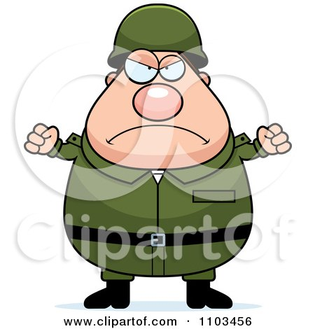 Clipart Mad Chubby Caucasian Army Man - Royalty Free Vector Illustration by Cory Thoman
