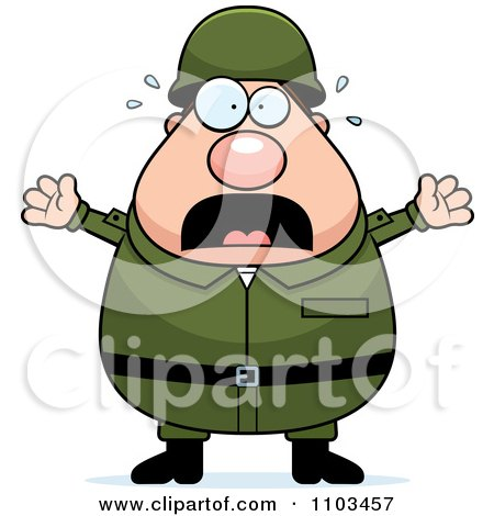 Clipart Stressed Chubby Caucasian Army Man - Royalty Free Vector Illustration by Cory Thoman