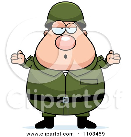 Clipart Careless Shrugging Chubby Caucasian Army Man - Royalty Free Vector Illustration by Cory Thoman