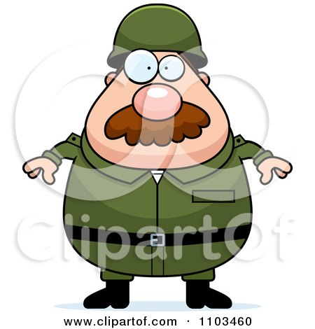 Clipart Chubby Caucasian Army Man With A Mustache - Royalty Free Vector Illustration by Cory Thoman