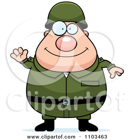 Clipart Friendly Waving Chubby Caucasian Army Man - Royalty Free Vector Illustration by Cory Thoman
