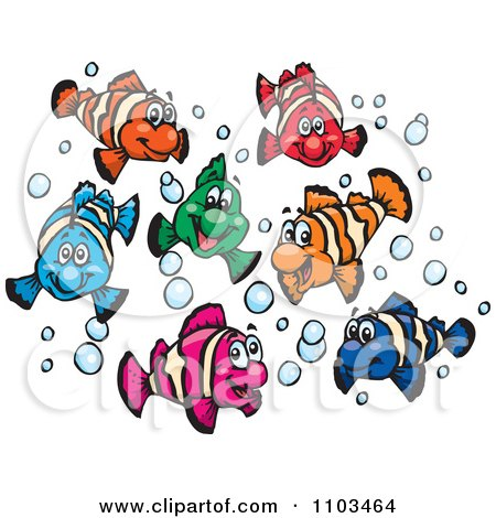 Clipart Happy Colorful Clownfish With Bubbles - Royalty Free Vector Illustration by Dennis Holmes Designs