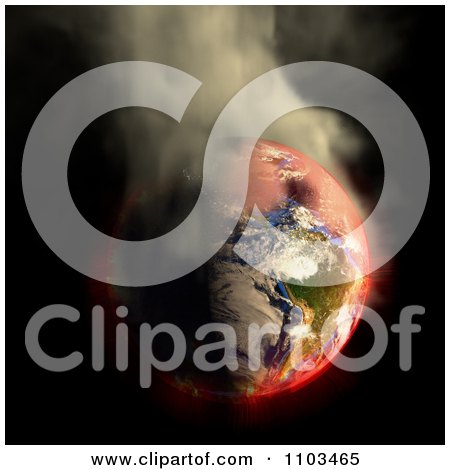 Clipart 3d Burning Irradiated Earth Smoking On Black 1 - Royalty Free CGI Illustration by Leo Blanchette