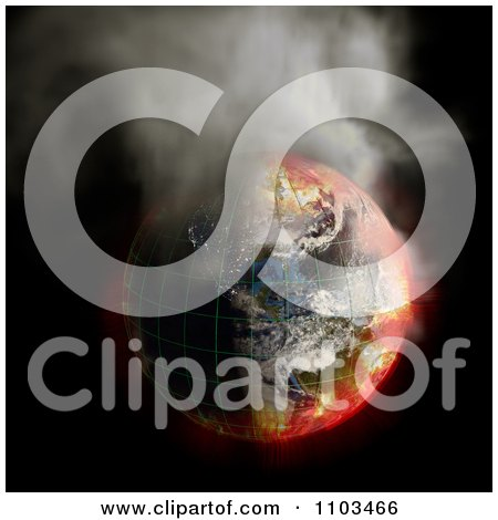 Clipart 3d Burning Irradiated Earth With A Grid Smoking On Black 1 - Royalty Free CGI Illustration by Leo Blanchette