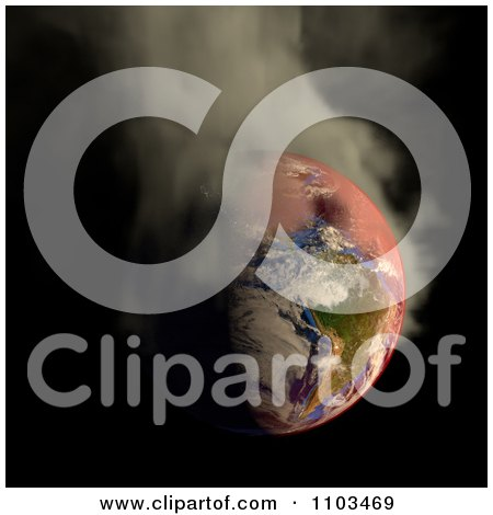 Clipart 3d Burning Irradiated Earth Smoking On Black 2 - Royalty Free CGI Illustration by Leo Blanchette